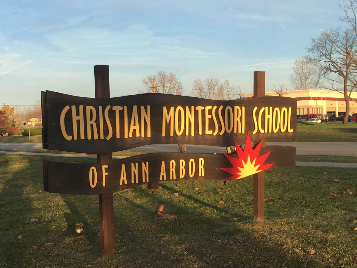 Christian Montessori School of Ann Arbor sign