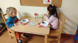 Children's House students having snack together