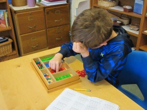Elementary student working