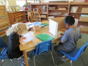 Elementary students working