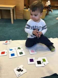 Young child doing Montessori school work