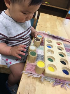Young child doing Montessori school work
